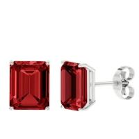 Emerald Cut Ruby Earrings