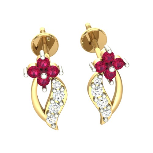 Eena Yellow Gold Stud Earrings