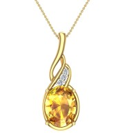 Westley Diamond and Citrine Gold Pendant