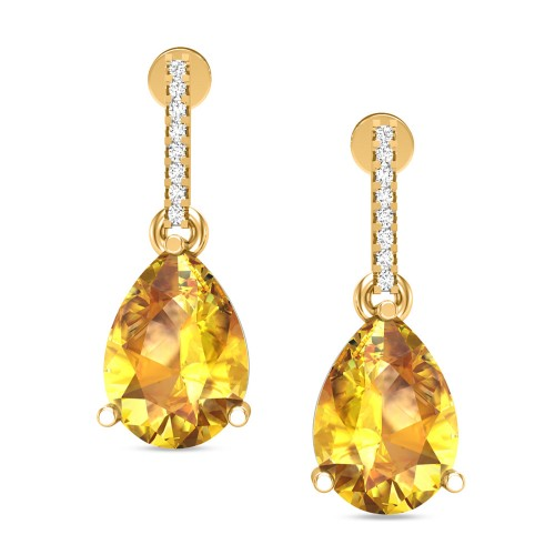 Aabharna Citrine Yellow Gold Drop Earrings