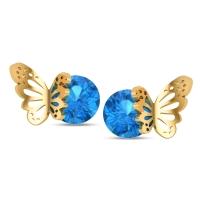 Aaditri Blue Topaz Butterfly Studs