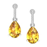 Charlotte Citrine White Gold Drop Earrings