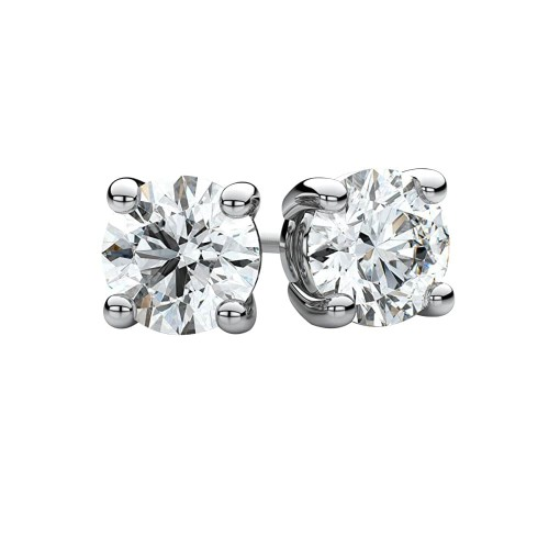 White Gold Simulated Diamond Stud Earrings