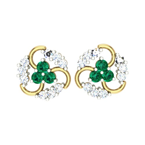 Meen Emerald Stud Earrings