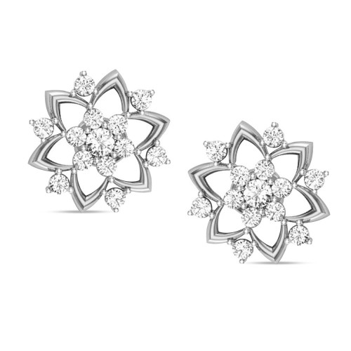 Badarivasa White Gold Stud Earrings