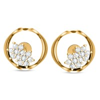 Eileena Yellow Gold Stud Earrings