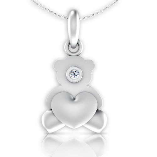 Teddy Love Heart Diamond Pendant
