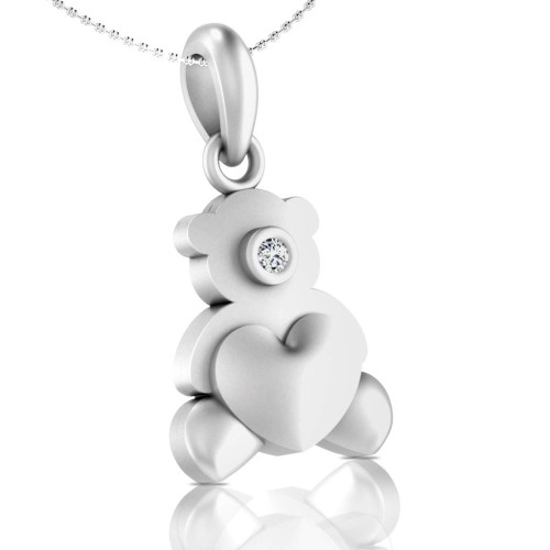 925 Silver Bear Cub Kids Pendant for Women and Girls