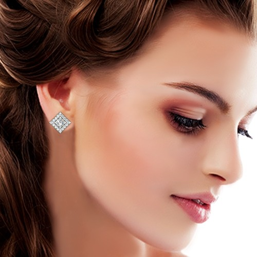 925 Silver Earrings Cubic Stud for Women and Girls