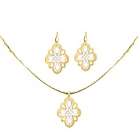 925 Sterling Silver Combo Gold Plated Drops and Pendant