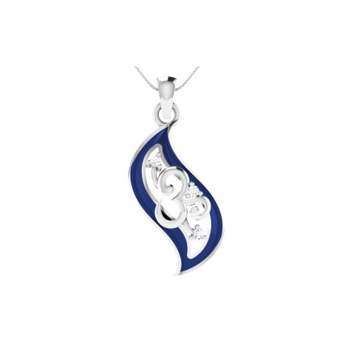 925 Sterling Silver Leaf shaped Blue Colour Om Pendant