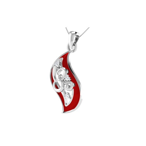 925 Sterling Silver Leaf shaped Om Pendant