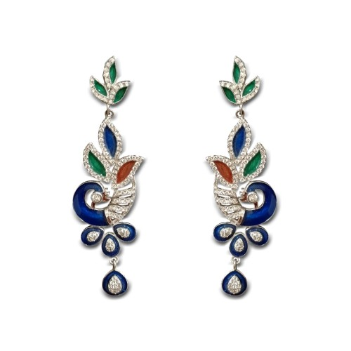 925 Sterling Silver Peacock Earrings with Meena