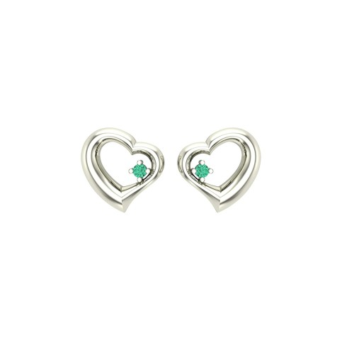 925 Sterling Silver With Heart Shape Studs