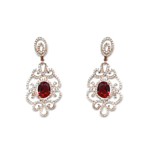 925 Sterling Silver Rose Gold Plated Ruby Earrings