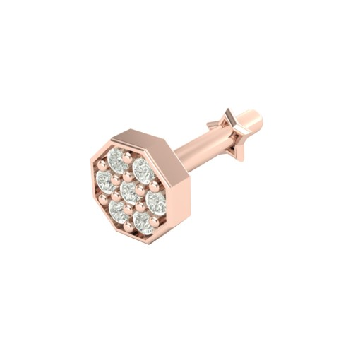 Beautiful Ambey Rose Gold Diamond Nosepin