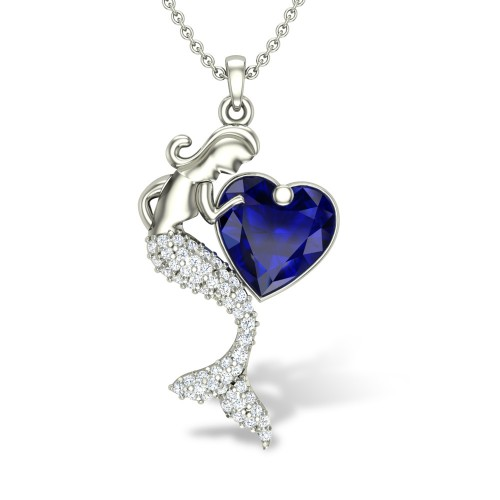 Mermaid Heart Diamond Pendant