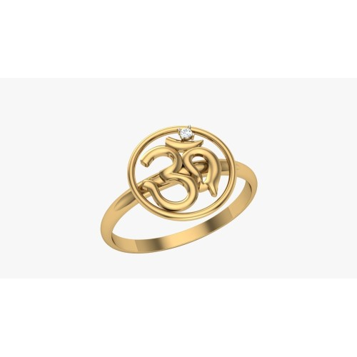 Om Gold and Diamond Ring