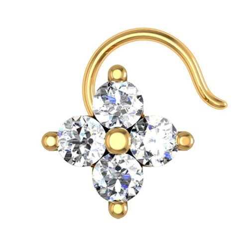 Aubriella Yellow Gold Diamond Nosepin Wire