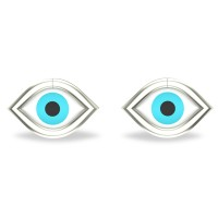 Akshita White Gold Evil Eye Stud Earrings For Women