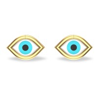 Akshita  Yellow Gold Evil Eye Stud Earrings For Women