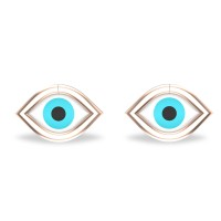 Akshita Rose Gold Evil Eye Stud Earrings For Women
