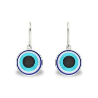 Aria White Gold Evil Eye Drop Earrings