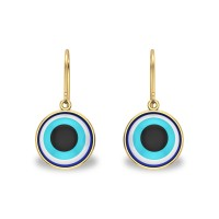 Aria Yellow Gold Evil Eye Drop Earrings