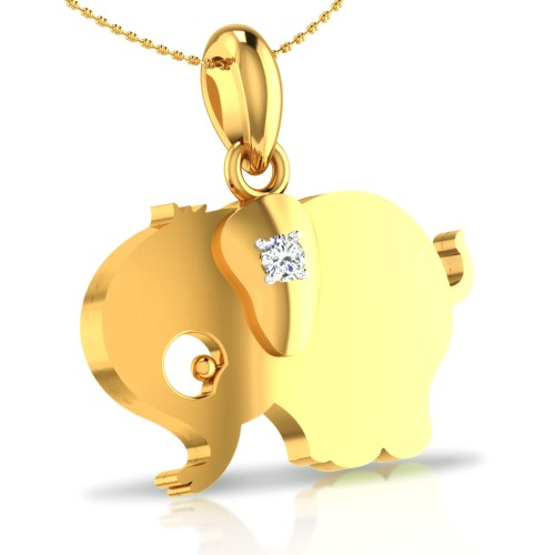 Elephant Gold and Diamond Pendant