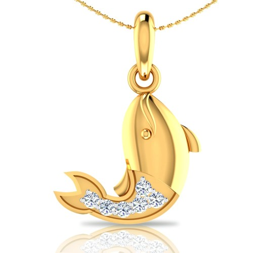 Fish Gold and Diamond Pendant