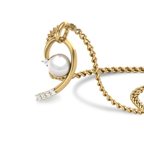 Wynne Pearl Gold and Diamond Pendant